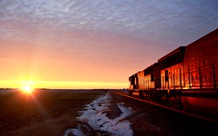 Westbound Sunset (Theresa*) Tags: winter sky snow cold clouds train illinois malta unionpacific nikond7000 westofdekalb