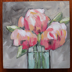 Peonies on Gray (Art by Trish Jones (theOldPostRoad)) Tags: pink original flower art floral painting jones trish peony bouquet peonies