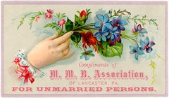 Mutual Marriage Benevolent Association of Lancaster, Pa. (Alan Mays) Tags: old pink flowers blue red green leaves vintage ads paper advertising cards typography hands ribbons purple pennsylvania antique fingers 19thcentury victorian marriage ephemera pa type lancaster lancastercounty advertisements fonts printed insurance cuffs borders groups typefaces nineteenthcentury mutualaid benevolent associations forgetmenots benefits organizations tradecards marriageinsurance benefitsocieties mutualmarriagebenevolentassociation marriagebenevolentassociation