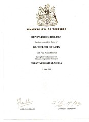 Ben Holden B.A. 1st Class Hons Degree in Digital Media