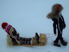 sled ride (*PoisonApple*) Tags: winter snow bjd msd minifee dollzone