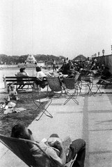 Chilling (Squatbetty) Tags: fountain pool fun relaxing lancashire 120film scanned morecambe scannedphoto sunbathing deckchairs pontins morecambebay outdoorpool agfaboxcamera middletontowerholidaycamp