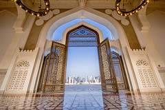 Imam Muhammad ibn Abd al-Wahhab Mosque (Ashraf Khunduqji) Tags: city blue sky architecture nikon gate outdoor towers mosque abd muhammad doha qatar ibn imam opengate d810 1424mm alwahhab