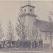NW Gilbert Cadillac Manton MI RPPC c.1908 Swedish Lutheran Church with Bell Tower to call in the Flock Cemetary on right near GR & I BOND MILLS Railroad Stop Cedar Creek Twsp. Photographer BAYES