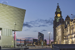Pier Head Liverpool (alun.disley@ntlworld.com) Tags: weather architecture cityscape dusk clocks pierhead portsandharbours liverpoolwaterfront museumofliverpool theroyalliverbuilding thecunardbuilding