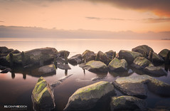 Kalmte op 't meer (xsgraphicdesign) Tags: longexposure sunset lake water print rocks wolken flevoland stenen markermeer setlocation setweathertype setphotographtechnique