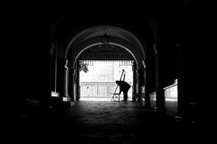 Time to paint (fernando_gm) Tags: street people blackandwhite españa man monochrome contrast 35mm person persona monocromo spain arch fuji gente seville fujifilm hombre monocromatico sevillla xt1