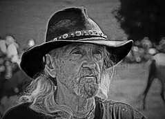 An American Cowboy (Just Joe ( I'm back...sort of )) Tags: portrait people blackandwhite man monochrome cowboy surreal gnarly hss slidersunday