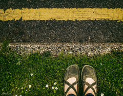 Green Cross Code (Jilly_Snaps) Tags: road green feet grass yellow tattoo shoes crossing pavement daisy curb yellowline