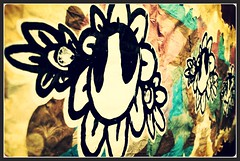 """Digital Flowers & Analog Love"" - INSPIRE (www.InspireCollective.com) Tags: pink flowers blue brown white streetart black flower color love yellow analog digital paper graffiti artwork paste tel aviv paintings inspired east middle inspire installations"