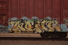 KONR (TheGraffitiHunters) Tags: street blue white black green art yellow train graffiti colorful paint tracks spray boxcar freight benched benching konr