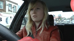 Girl in red leather gloves and leather jacket driving stick shift car (girl leather pants) Tags: red girl car leather driving shift jacket gloves stick