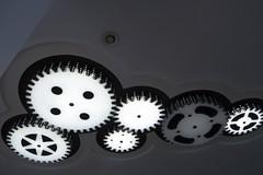 Creative ceiling (marina_felix) Tags: lamp architecture decoration creative monotone ceiling lookingup gears 366 3651