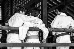 Fight for friends (Go-tea) Tags: street bw white black boys kids canon garden happy eos japanese 50mm pagoda blackwhite fight friend friendship tea outdoor happiness karate relationship together kimono forever toulouse bnw pavillon 100d