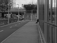 Phone call (Nicolas -) Tags: street city bridge bw man france building glass lines bicycle train concrete call phone steel telephone perspective nb sidewalk reflet reflect sit pont rue ville vlo assis homme lignes trottoir batiment verre acier bton nicolasthomas velib