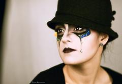 Pierrot (Chiara Mangiaracina) Tags: carnival portrait woman colors girl beautiful beauty fashion dark studio lights model eyes nikon moda makeup 85mm lips portraiture luci carnevale ritratto pierrot primopiano maschera seppia trucco modella darklips nikond90