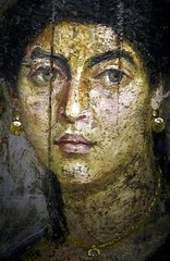 Ancient Roman Culture. A female portrait on wood panel from Hawara, a site near the Fayum oasis, Egypt, dated 54-68 AD, (mike catalonian) Tags: portrait face female painting egypt mummy hawara ancientrome fayum ancientmiddleeast