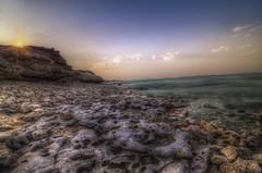 Sunset at Fuwairit Beach -Qatar (zai Qtr) Tags: sunset sea nature water colors outdoor stones tokina friday aamir shams gcc qatar fuwairitbeach exploreqatar zaiqtr
