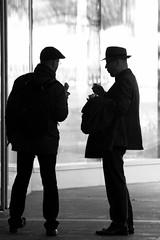 movie hats (Wackelaugen) Tags: street people blackandwhite bw white man black men hat silhouette canon germany movie person photography eos mono photo blackwhite stuttgart hats silhouettes googlies wackelaugen