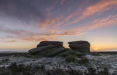 Ox Stones (l4ts) Tags: snow sunrise landscape heather peakdistrict sheffield goldenhour darkpeak moorland gritstone ringinglow southyorkshire burbagemoor oxstones britnatparks gritstonetors