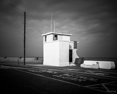 Overwatch (laura.hacking) Tags: uk longexposure greatbritain blackandwhite texture beach monochrome architecture project mono coast quiet waterfront northwest cloudy britain outdoor overcast landmark location structure coastline 1960s seafront bnw wallasey wirral fineartphotography newbrighton blackandwhitephotography lifeguardstation