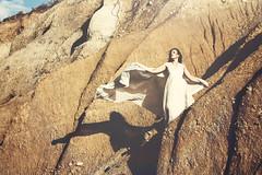 The Climb (Alyssa Mort) Tags: portrait woman white selfportrait girl dress desert wind outdoor dramatic surreal hills sunflare alyssamort