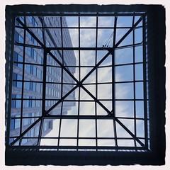 Up (Ennev) Tags: windows sky urban up clouds montreal skylight elijah 1000 gauchetiere radama hipstamatic