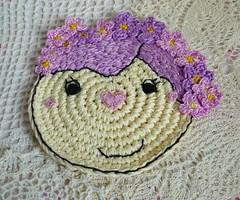 lavender girl crochet coaster1 (MonikaDesign) Tags: homedecor tabledecor kitchendecor handmadecoasters lavenderdoll monikadesign flowercoaster lavendergirlcoaster crochetlavenderflowercoaster