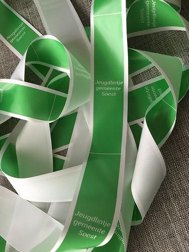 45mm wit lint met groen bedrukt