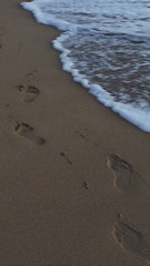 Footsteps i. (miranda.valenti12) Tags: ocean feet beach water misty foot hawaii sand waves mark sandy bubbles footsteps indent