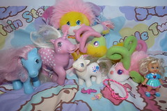 Flea Market Finds April 10, 2016 (Chani-Chan) Tags: baby color yard vintage bug way toys little market sale snail bowtie collection potato pony fluorescent thrift 80s bracelet chip g1 cheerleader flea milky finds sneaky variation 90s hooks mlp popples chugga nightsong