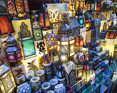Lanterns, Cairo (PhotoImpulse) Tags: blue light red orange abstract color green art tourism beautiful beauty yellow contrast mosaic traditional dream egypt craft style cairo lantern rare eclectic khanalkhalili