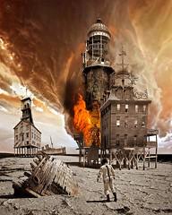 Outpost II (Vincent Mattina (aka FLUX)) Tags: sea storm building digital vintage fire desert apocalypse victorian astronaut