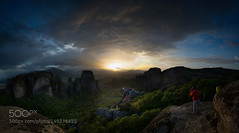 These moments... (PhoenixRoofing164) Tags: sunset sky architecture clouds rocks greece monastery meteora