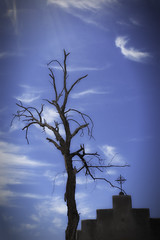 Dia de Los Muertos (L Geoffroy) Tags: travel blue arizona sky southwest church nature clouds outside cross tucson deadtree