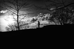 Alone On A Hill (Marcela McGreal) Tags: park nyc newyorkcity sunset blackandwhite bw white newyork black byn blancoynegro blanco silhouette branco blackwhite noir noiretblanc bronx negro police nypd preto bn thebronx bianco blanc nero pretoebranco schwarz bianconero officer bnw biancoenero noirblanc blanconegro pretobranco southbronx weis motthaven saintmaryspark schwarzundweis