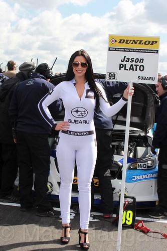 Jason Plato's grid board during the BTCC Weekend at Donington Park, April 2016