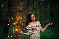 Mysterious Forest Nymph (noor.khan.alam) Tags: portrait woman green nature girl beautiful beauty forest dark doll candles magic ukraine fairy mysterious mystical concept charming nymph mythology fortunetelling dreamtree wreathofflowers