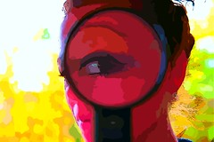 Sometimes the questions are complicated and the answers are simple.  Dr. Seuss (Pics4life.nl) Tags: blue red portrait color eye girl yellow blauw fantasy portret geel rood oog fantasie kleur loep