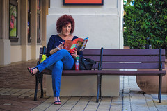 Urban Comfort (rmehdee) Tags: city urban woman eye look fashion mystery lady canon bench 50mm reading town downtown day unitedstates florida juice feminine candid secret smoke streetphotography lifestyle cigar smoking hidden feminism comfort visitor palmbeach cityplace candidshot thelook palmbeachcounty westpalm watchover urbancomfort