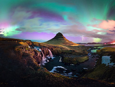 Curve of Kirk (Impossi[A]ble) Tags: light mountain night river waterfall iceland hill hills aurora curve northern