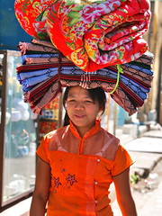 Yangon - Woman (sharko333) Tags: voyage street portrait people woman asia asien yangon burma olympus myanmar asie birma reise rangoon tavel em5
