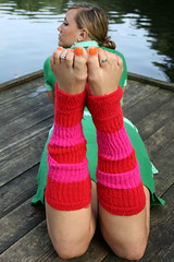 Ananda barefoot in leg warmers (sunnystreets) Tags: street city orange feet public female outdoors foot toe dress leg tattoos ring jewellery rings barefoot pedicure warmers polished