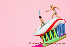 bra runners (luciancoman) Tags: blue light red two woman white color colour beautiful yellow panties naked nude walking landscape fun miniature jump funny colorful warm child natural action bare young running toothpaste topless concept toothbrush littlepeople activity conceptual stripped smallworld active blonds plasticpeople swimmingsuit undressed
