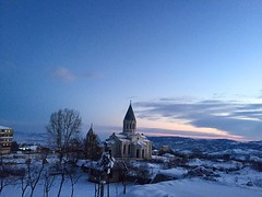 Ghazanchetsost Cathedral (Alexanyan) Tags: winter sunset snow church christ cathedral kirche christian holy chiesa nagornokarabakh armenia orthodox eglise shushi savior armenian ghazanchetsots
