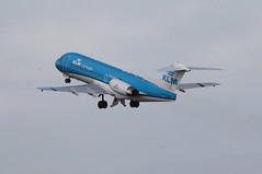 PH-KZB take off. (aitch tee) Tags: aircraft klm takeoff airliner walesuk cardiffairport fokker70 phkzb maesawyrcaerdydd