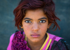 gypsy girl with red hair, Central County, Kerman, Iran (Eric Lafforgue) Tags: poverty portrait people orange cute girl beautiful face childhood horizontal closeup photography kid eyes asia pretty child iran serious character traditional poor young culture adorable posing persia headshot indoors stunning tribes nomad contact henna tribe gypsy gypsies kerman cultural oneperson middleeastern frontview nomadic lookingatcamera   1people  iro onegirlonly onlychildren  colourpicture  irandsc06894 khoshneshin