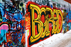 winter graffiti (twurdemann) Tags: city winter red urban snow canada colour brick art rain yellow wall graffiti chaos january bored vandalism thaw bold saultstemarie gorestreet procontrast nikcolourefex detailextractor xf1855mm fujixt1