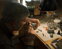 The Watchmaker (Jenn Sarti) Tags: lighting detail watch repair skill watchmaker
