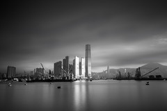 Light ([~Bryan~]) Tags: city light sea reflection weather hongkong cityscape cloudy shelter icc urbanlandscape westkowloon ndfilter daytimelongexposure